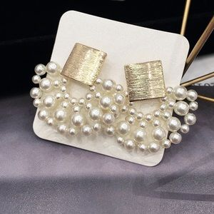 Elegant Gold Faux Pearl Statement Earrings!